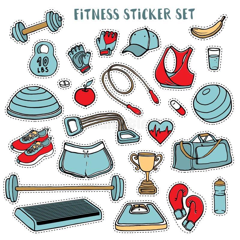Нарисованный комплект стикера спорта и фитнеса красочный руки doodles бесплатная иллюстрация