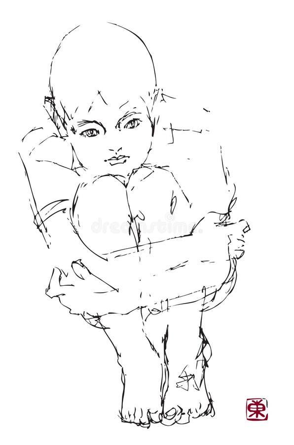 нарисованный мальчиком думать руки иллюстрация вектора