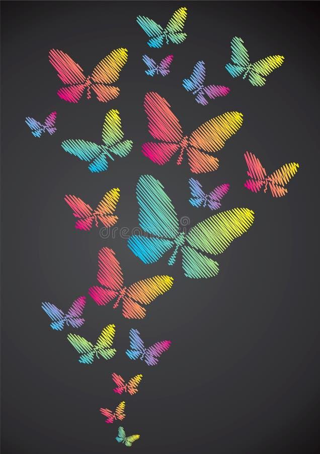 нарисованный мелок бабочек бесплатная иллюстрация