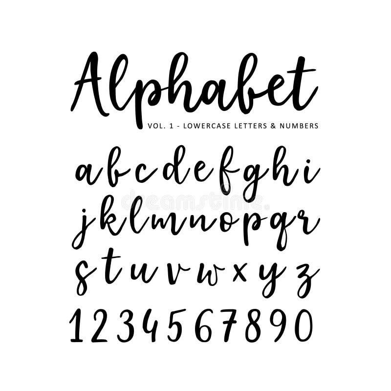 Нарисованный рукой алфавит вектора Шрифт сценария щетки Изолированные строчные буквы и номера написанные с отметкой или чернилами иллюстрация вектора