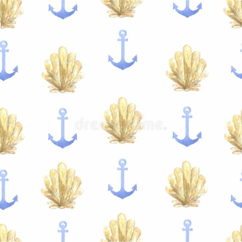 Нарисованный рукой анкер орнамента акварели графический и иллюстрация штока
