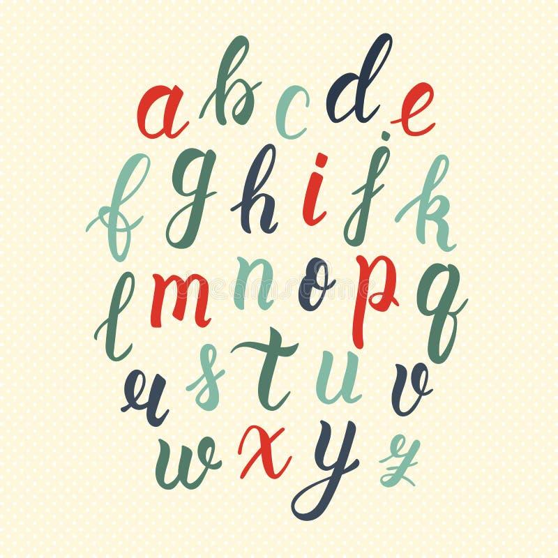 Нарисованный рукой латинский сценарий щетки каллиграфии строчных букв в винтажных цветах Каллиграфический алфавит вектор иллюстрация штока