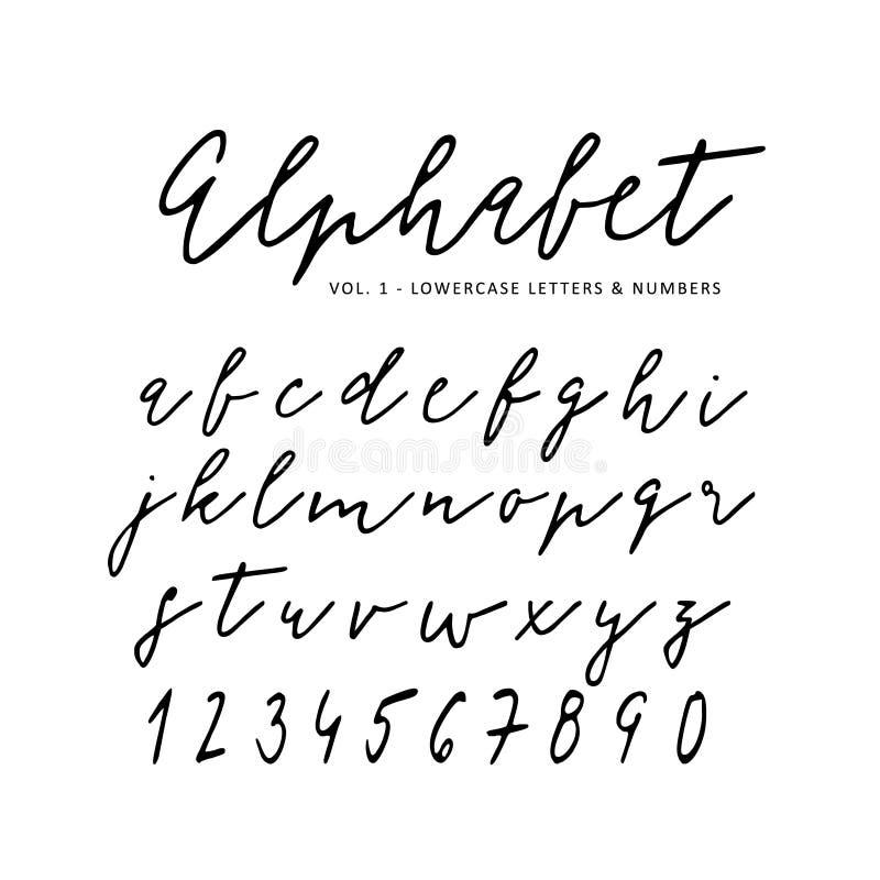 Нарисованный рукой алфавит вектора Шрифт сценария подписи Изолированные письма написанные с отметкой, чернилами Каллиграфия, поме иллюстрация вектора