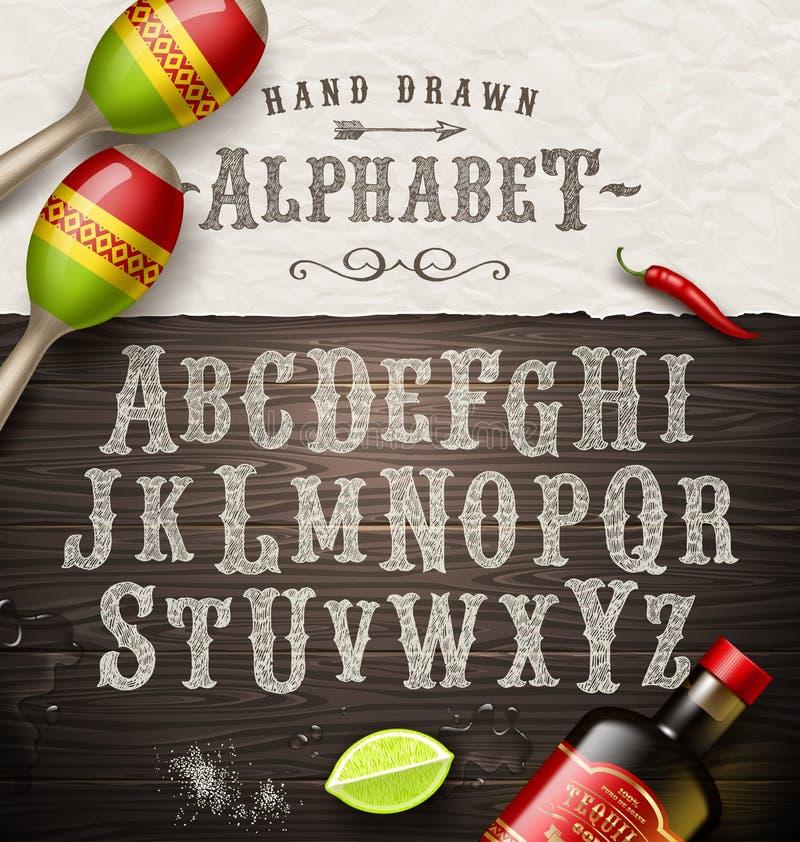 Нарисованный рукой алфавит год сбора винограда иллюстрация штока