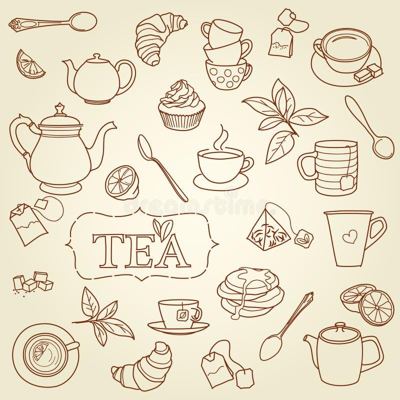 Нарисованный рукой вектор концепции doodle чая иллюстрация вектора