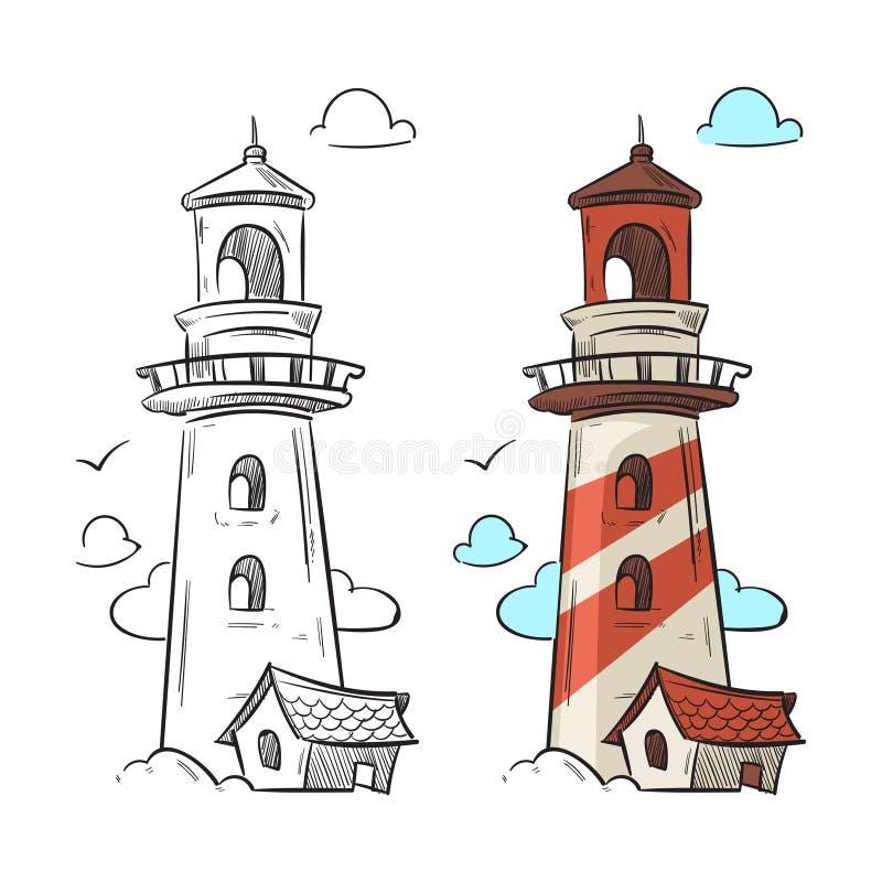 Нарисованный рукой вектор маяка иллюстрация штока