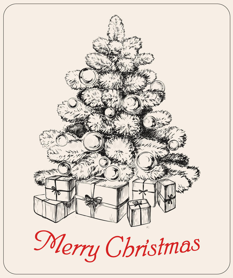 Нарисованный рукой вектор рождественской елки вектора рождественской елки иллюстрация вектора