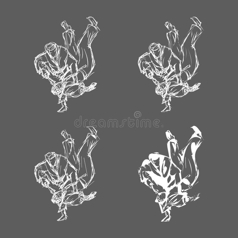 Нарисованный рукой вектор хода дзюдо изолированный иллюстрация штока