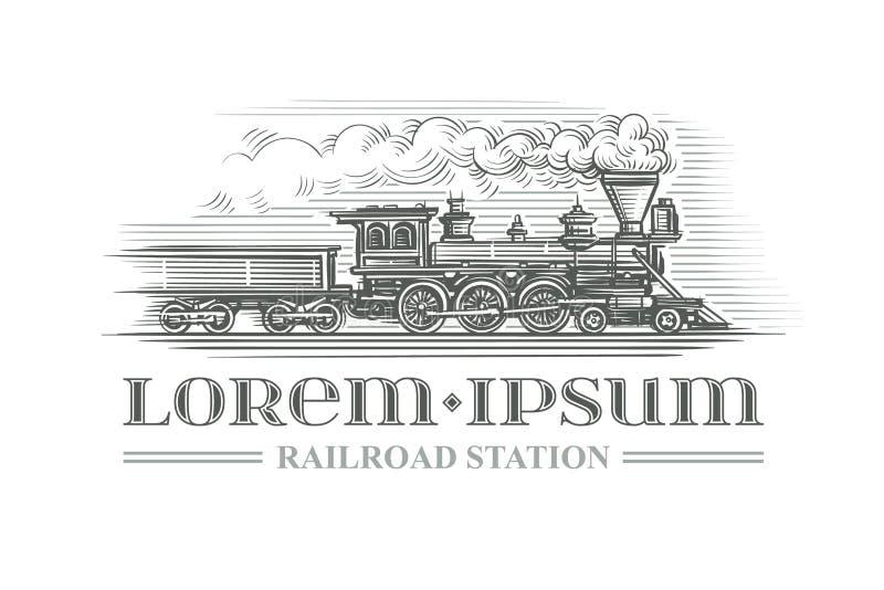 Нарисованный рукой винтажный локомотивный стиль гравировки вектор Законспектированный текст иллюстрация вектора