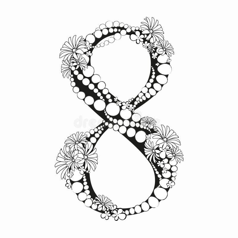 Нарисованный рукой дизайн алфавита 8 цветка вектора числа 8 с составом черно-белых цветов и шариков чернил стоковое изображение