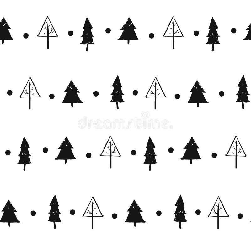 Нарисованный рукой дизайн картины рождества конспекта вектора текстурированный украшением безшовный с freehand щеткой покрасил ро бесплатная иллюстрация