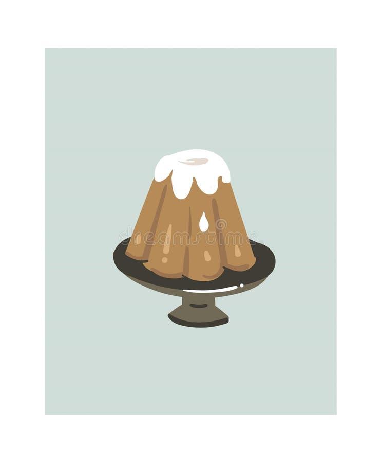 Нарисованный рукой значок иллюстраций потехи продолжительности варки шаржа конспекта вектора с тортом пудинга на стойке торта изо иллюстрация штока