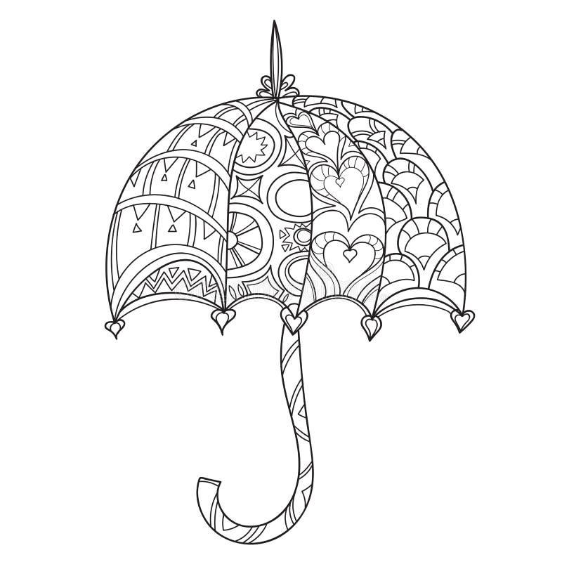 Нарисованный рукой зонтик плана doodle иллюстрация штока