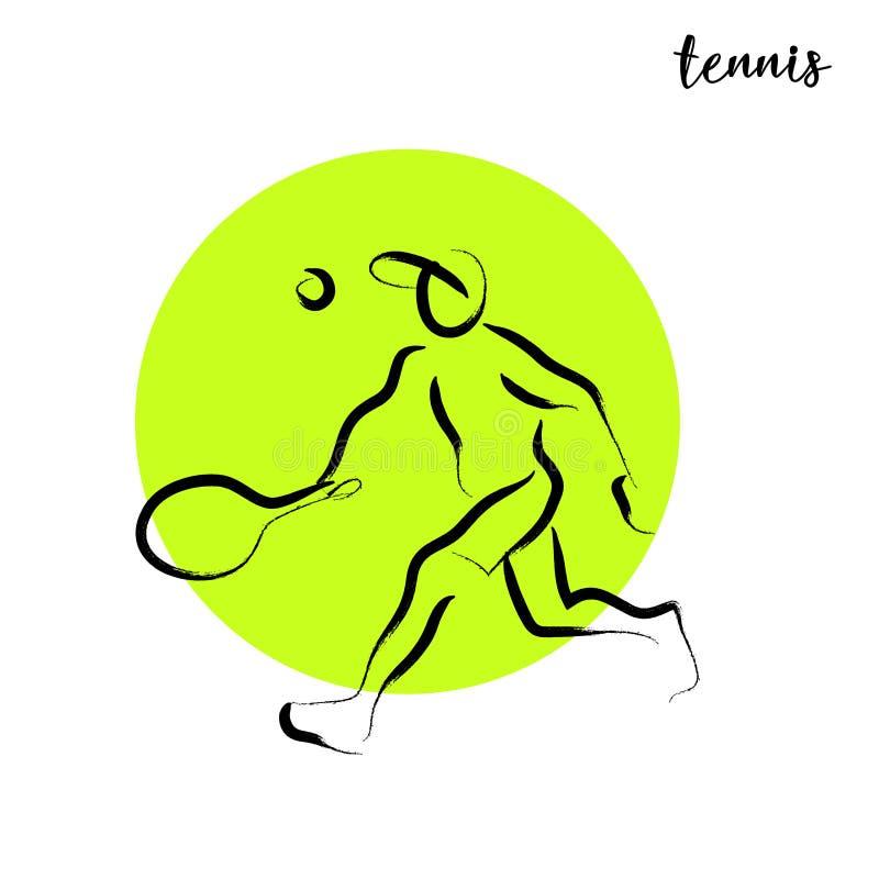 Нарисованный рукой изолированный силуэт спортсмена спорта вектора иллюстрация штока