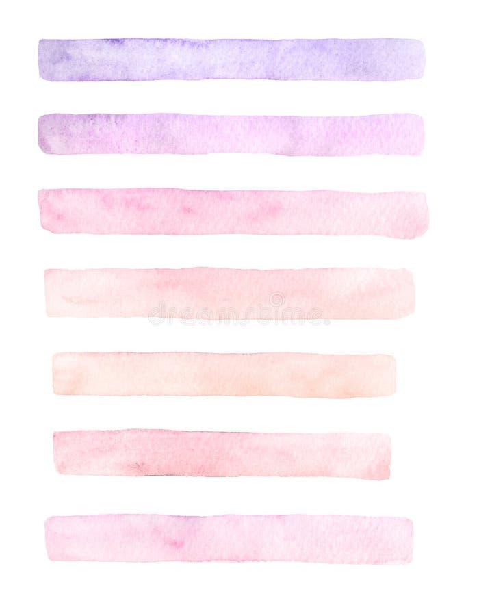 Нарисованный рукой комплект акварели brushstrokes желтых, розовых и фиолетовых цветов иллюстрация штока