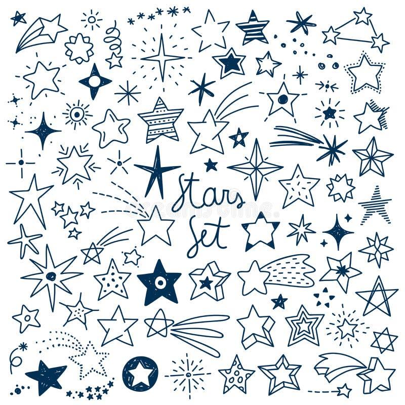 Нарисованный рукой комплект вектора звезд иллюстрация вектора