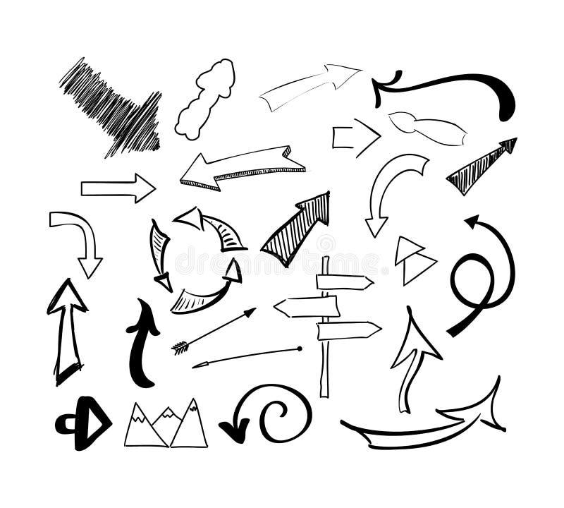 Нарисованный рукой комплект вектора стрелок doodle эскиза Изолированная иллюстрация на белой предпосылке иллюстрация штока