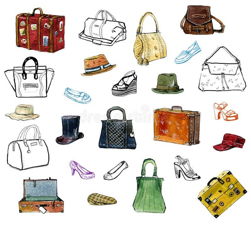 Нарисованный рукой комплект графика acessories одежды, шляп, сумок, ботинок иллюстрация вектора