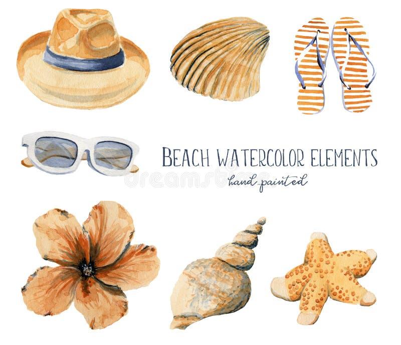 Нарисованный рукой комплект пляжа иллюстрации акварели морей шляпы объектов бесплатная иллюстрация