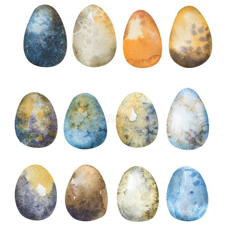 Нарисованный рукой комплект акварели пасхальных яя Иллюстрация для приветствовать иллюстрация вектора