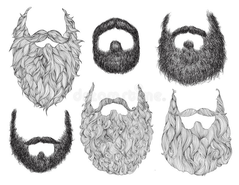 Нарисованный рукой комплект бороды бесплатная иллюстрация