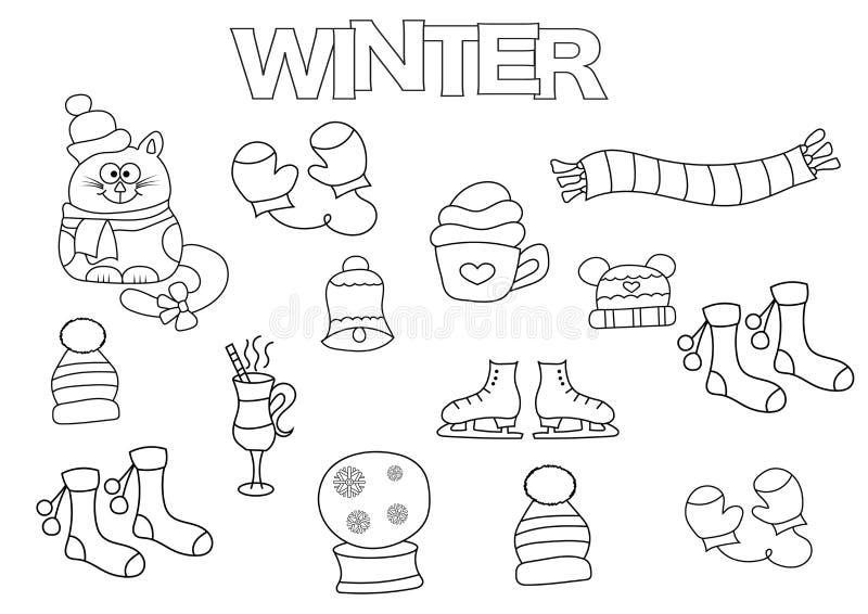 Нарисованный рукой комплект зимы Шаблон книжка-раскраски Doodle плана иллюстрация вектора
