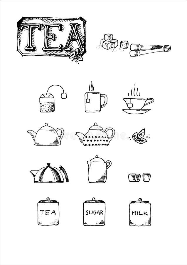 Нарисованный рукой комплект значка вектора знака, чашки, бака, фильтра для меню столовой или знака чая бесплатная иллюстрация