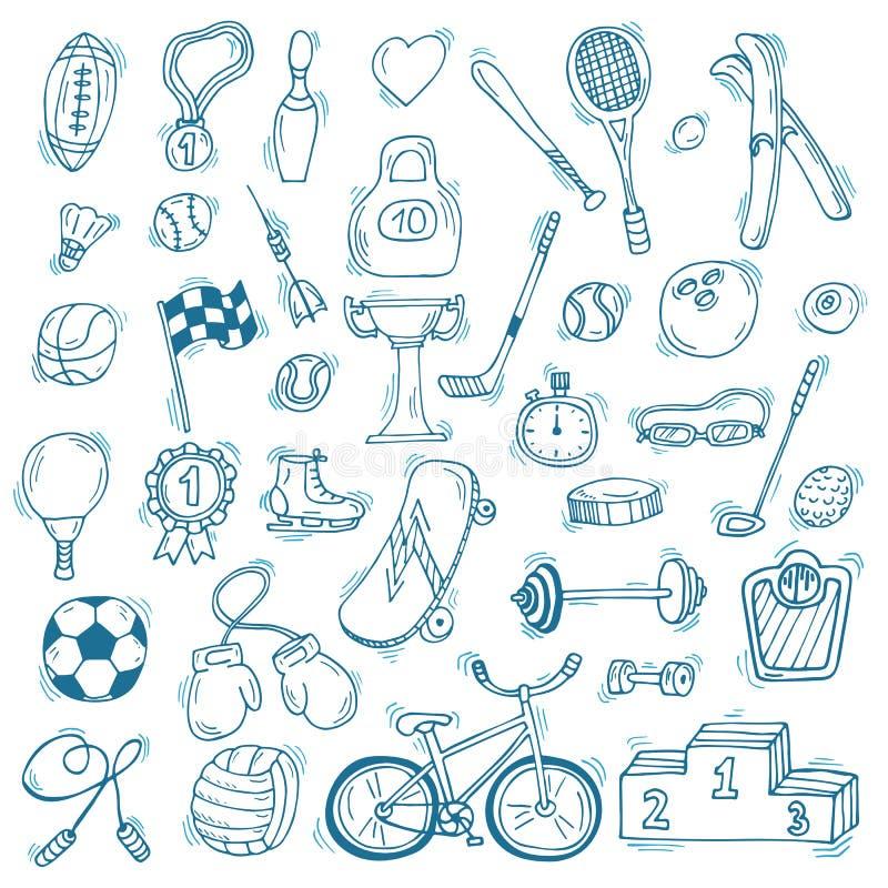 Нарисованный рукой комплект значка спорта вычисляет что пригодность несколько резвится детеныши женщины тренировки Здоровый уклад иллюстрация штока