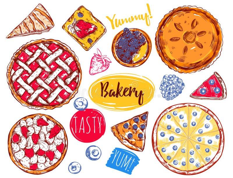 Нарисованный рукой комплект значка торта куска пирога иллюстрация штока