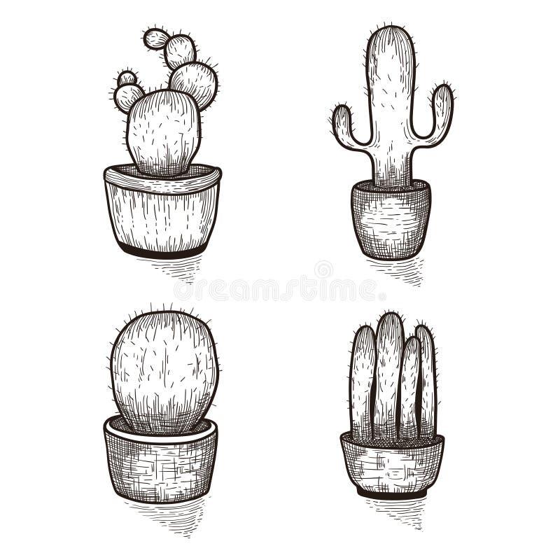 Нарисованный рукой комплект кактуса Doodle флористический в баках Vector ботанические комплекты с милыми заводами интерьера дома иллюстрация вектора