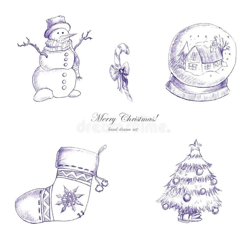 Нарисованный рукой комплект рождества стоковые фотографии rf