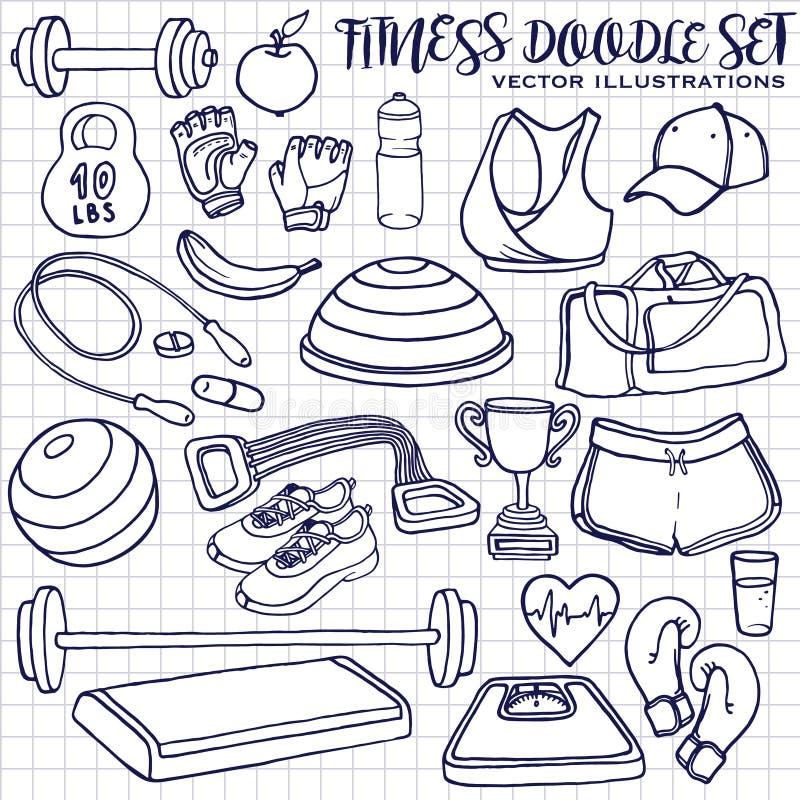 Нарисованный рукой комплект doodle фитнеса вектор изображения иллюстраций download готовый иллюстрация штока