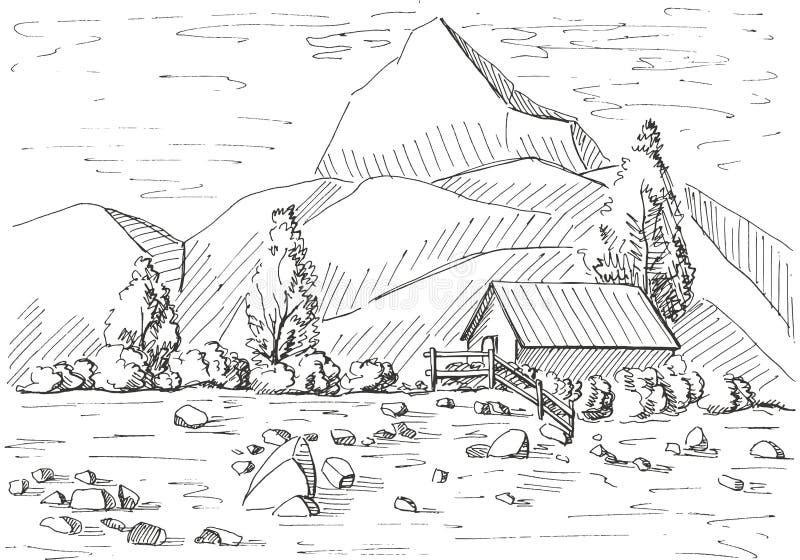 Нарисованный рукой ландшафт горы Дом на предпосылке гор Иллюстрация вектора стиля эскиза иллюстрация штока