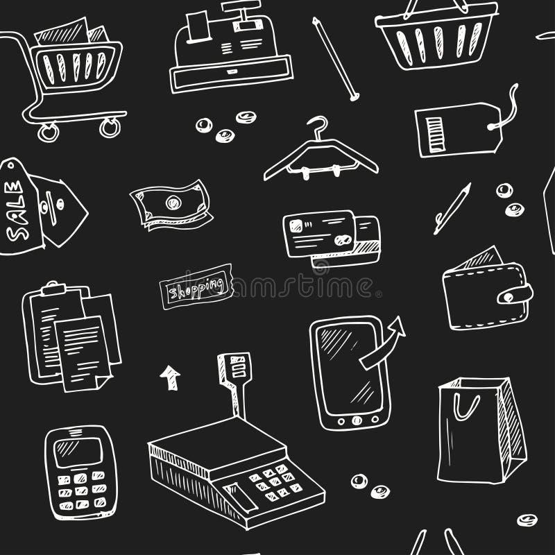 Нарисованный рукой магазин розничной торговли doodle поставляет безшовную картину иллюстрация вектора