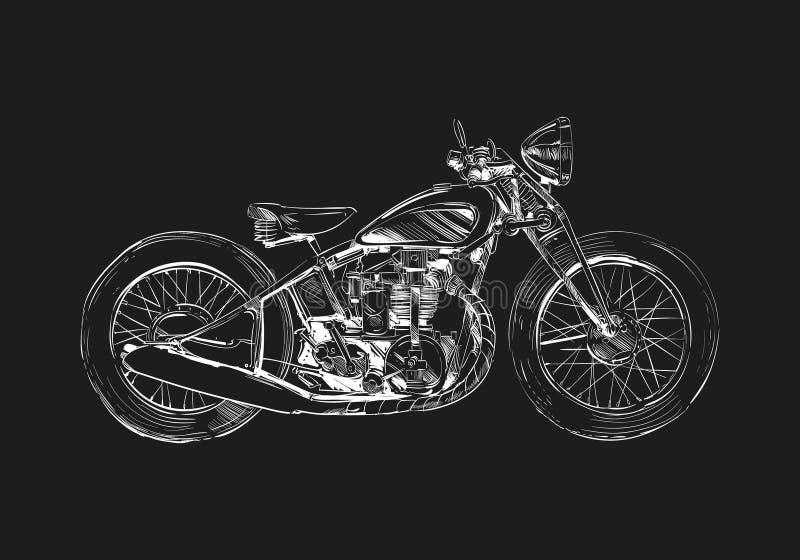 Нарисованный рукой мотоцикл классики эскиза Идея проекта иллюстрации вектора иллюстрация вектора