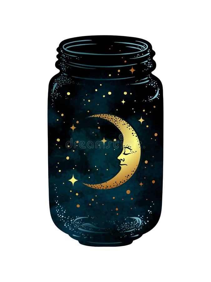 Нарисованный рукой опарник желания Серповидные луна и звезды в стеклянном изолированном опарнике бесплатная иллюстрация