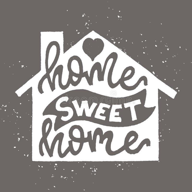 Нарисованный рукой плакат оформления Элемент дизайна литерности говорит домашний сладкий дом иллюстрация штока