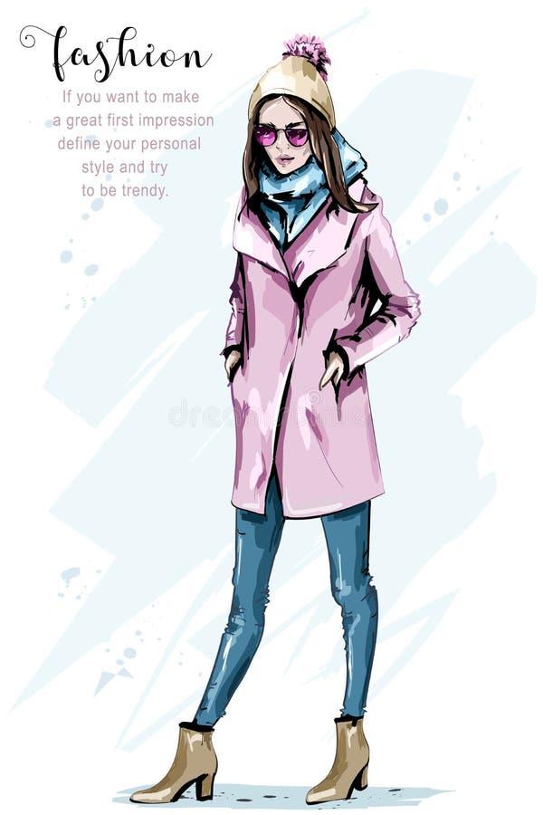 Нарисованный рукой портрет тела красивой женщины полный Женщина моды в шляпе knit Стильное обмундирование иллюстрация вектора