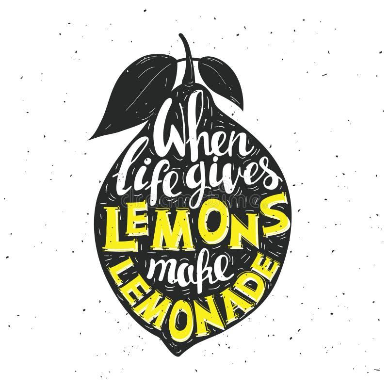 Нарисованный рукой плакат оформления Лимон с надписью иллюстрация вектора