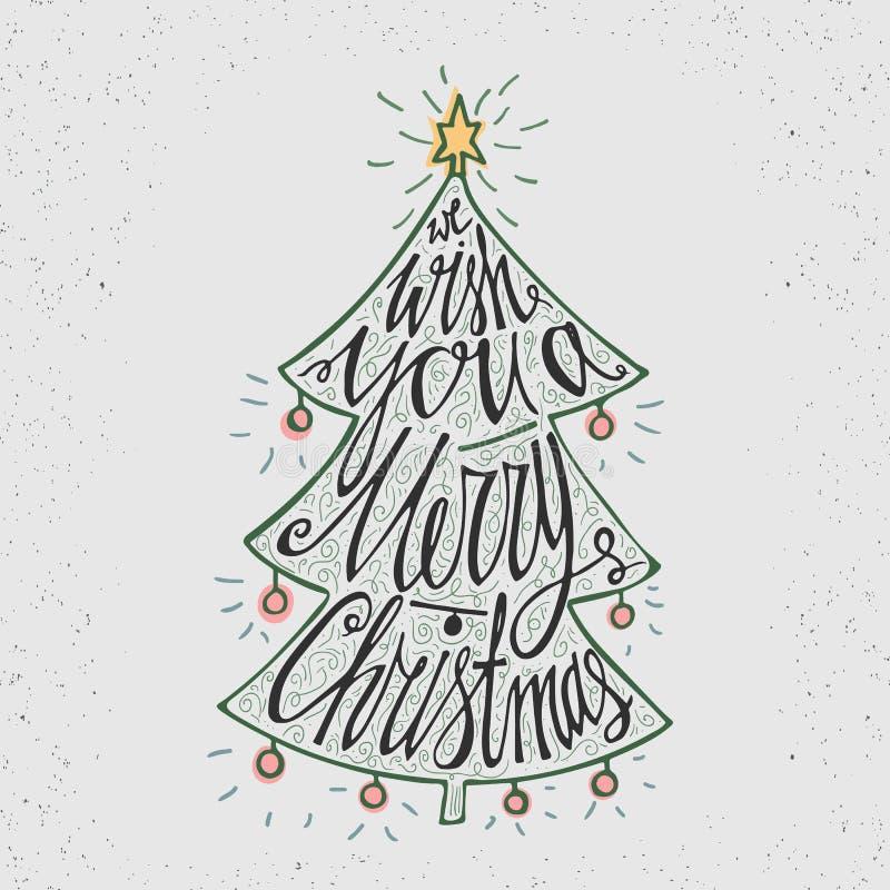 Нарисованный рукой плакат оформления Стильный типографский дизайн плаката с рождественской елкой, надписью - мы желаем вам с Рожд иллюстрация штока