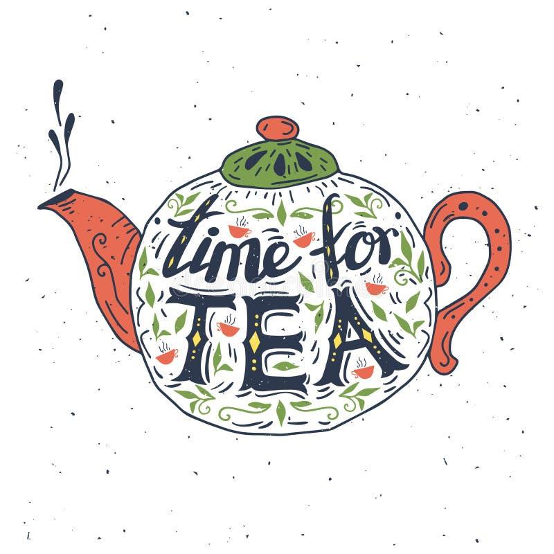 Нарисованный рукой плакат оформления часов жизни время чая все еще иллюстрация вектора