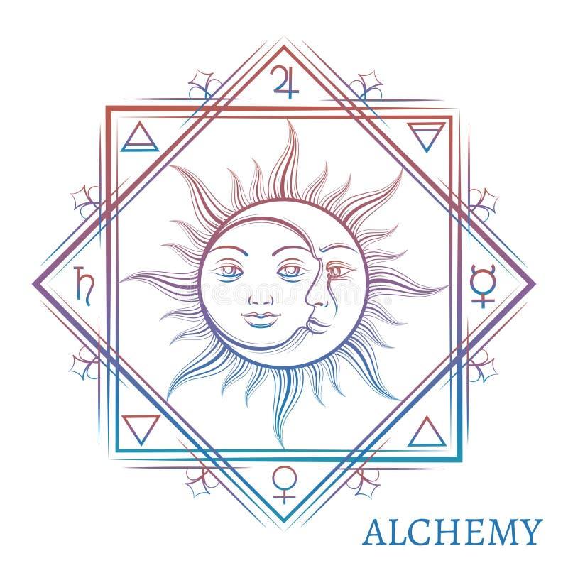 Нарисованный рукой символ алхимии иллюстрация вектора