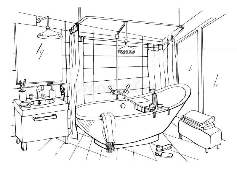 Нарисованный рукой современный дизайн интерьера ванной комнаты Иллюстрация эскиза вектора бесплатная иллюстрация