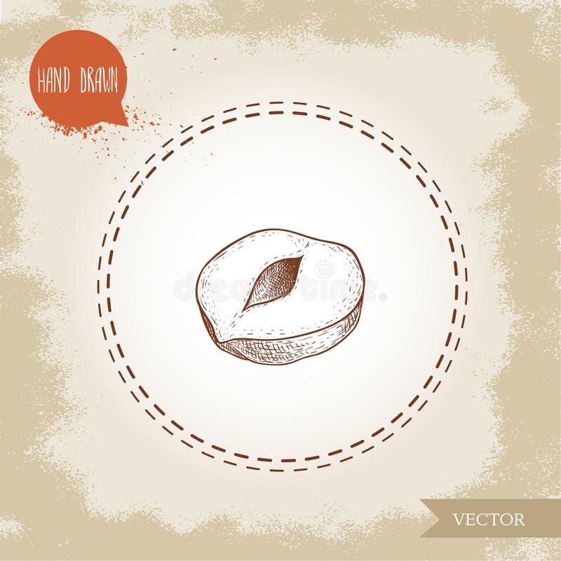 Нарисованный рукой стиль эскиза слез одиночную половину семени фундука Иллюстрация вектора еды Eco здоровая Гайка леса бесплатная иллюстрация
