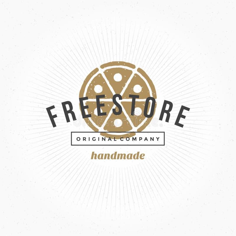 Нарисованный рукой стиль логотипа ресторана пиццы винтажный иллюстрация вектора