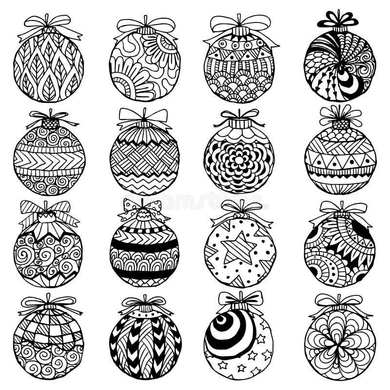 Нарисованный рукой стиль zentangle шариков рождества для книжка-раскраски иллюстрация штока
