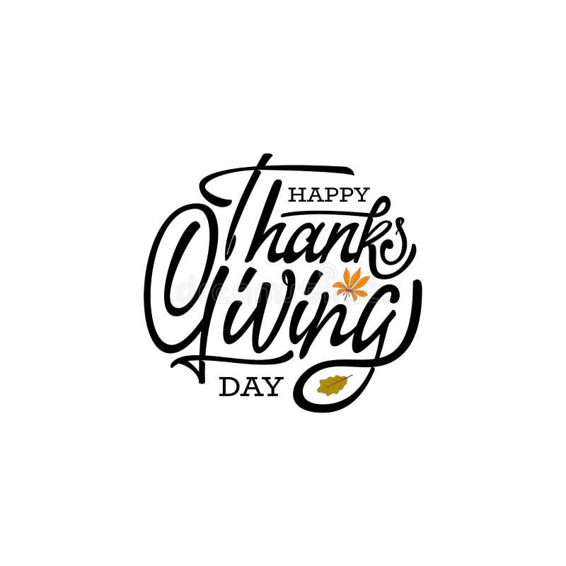 Нарисованный рукой счастливый плакат оформления благодарения Текст торжества с листьями для открытки, значка или значка вектор иллюстрация штока