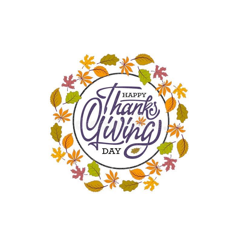 Нарисованный рукой счастливый плакат оформления благодарения Текст торжества с листьями для открытки, значка или значка вектор бесплатная иллюстрация