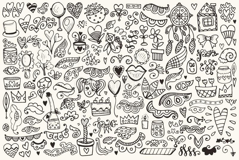 Нарисованный рукой флористический комплект элементов иллюстрация штока