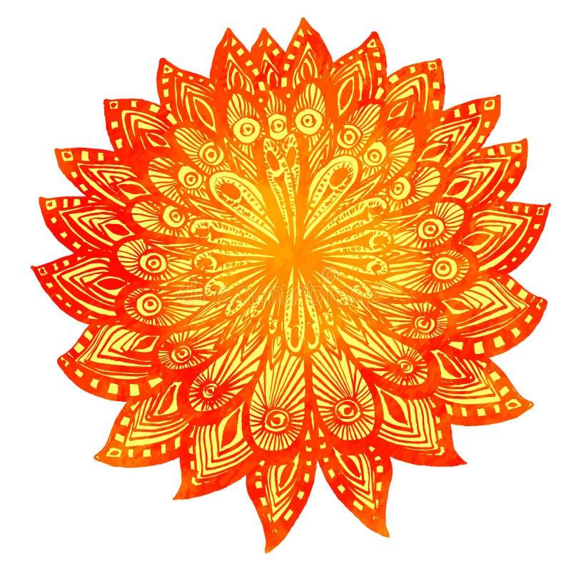Нарисованный рукой цветок апельсина doodle акварели индийско иллюстрация штока